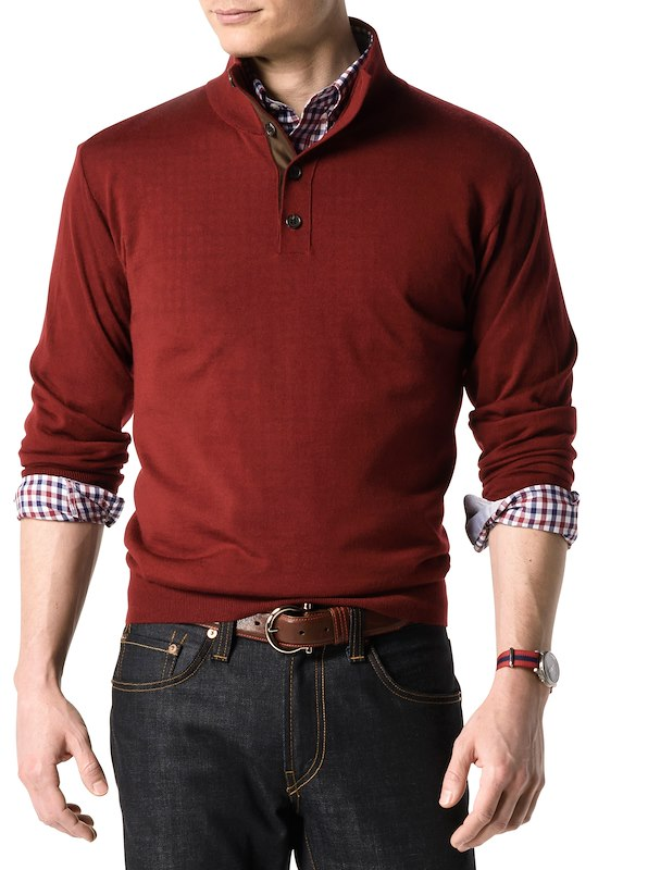 Button Mock Neck - Dark Burgundy