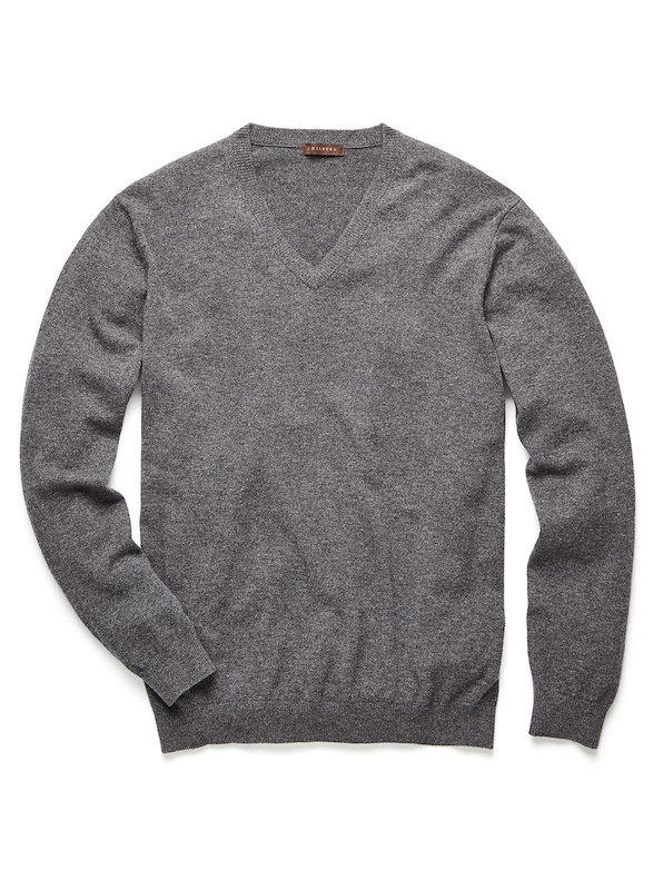 Cashmere V-Neck Sweater - Charcoal Heather