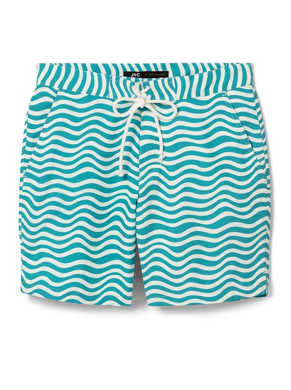 Aqua/White Wave Swim Trunk