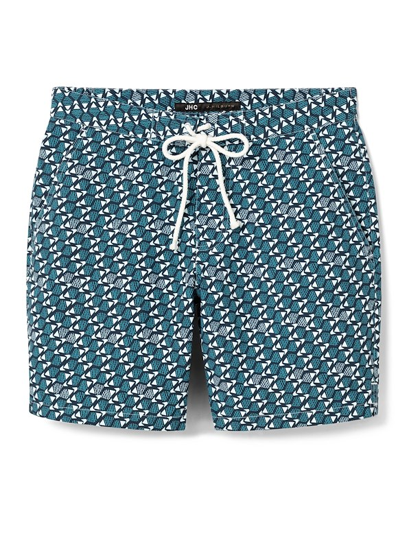 Navy/Aqua Fish Swim Trunk