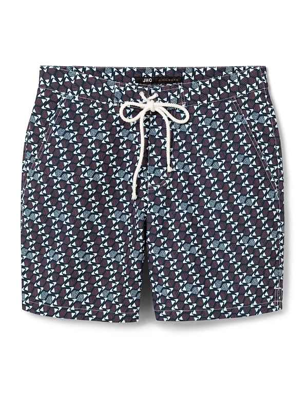 Navy/Coral Fish Swim Trunk