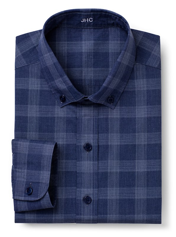 Storm Blue Mélange Large Glen Plaid