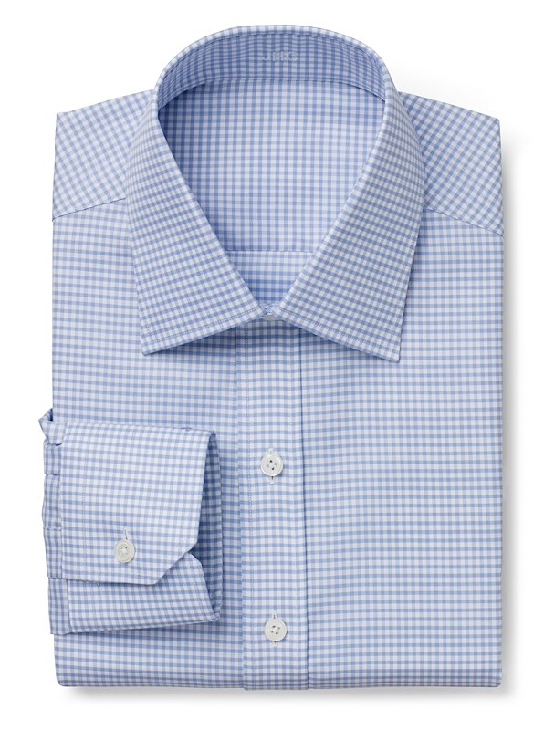 Wrinkle Resistant Blue Twill Gingham