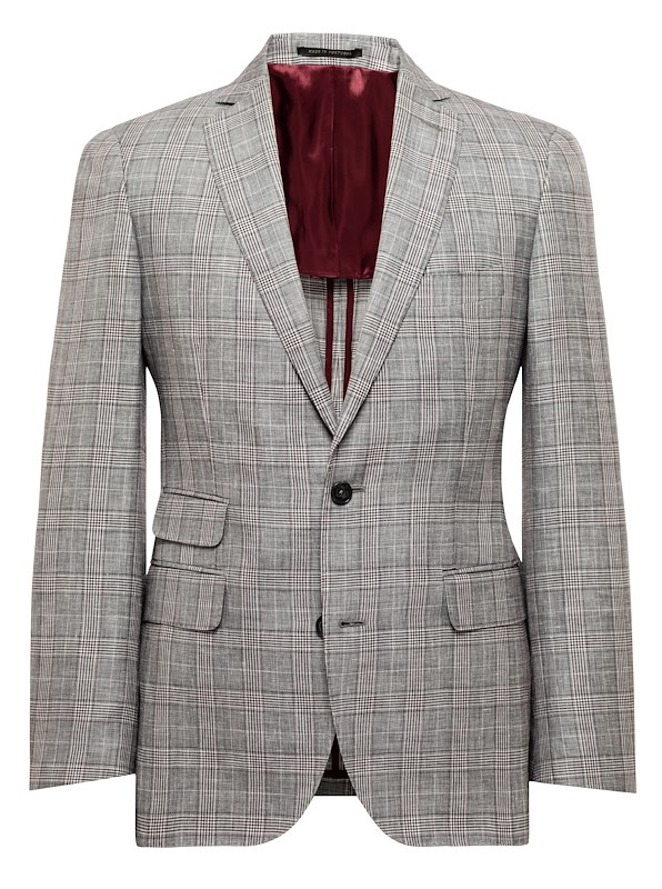 Soft Grey and Burgundy Glen Plaid